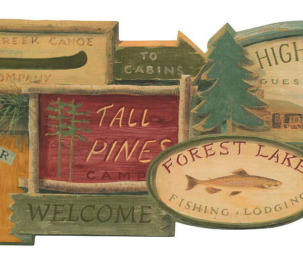 Lodge Signs Wallpaper Border WL5569B moose cabin fish rustic decor 600x525