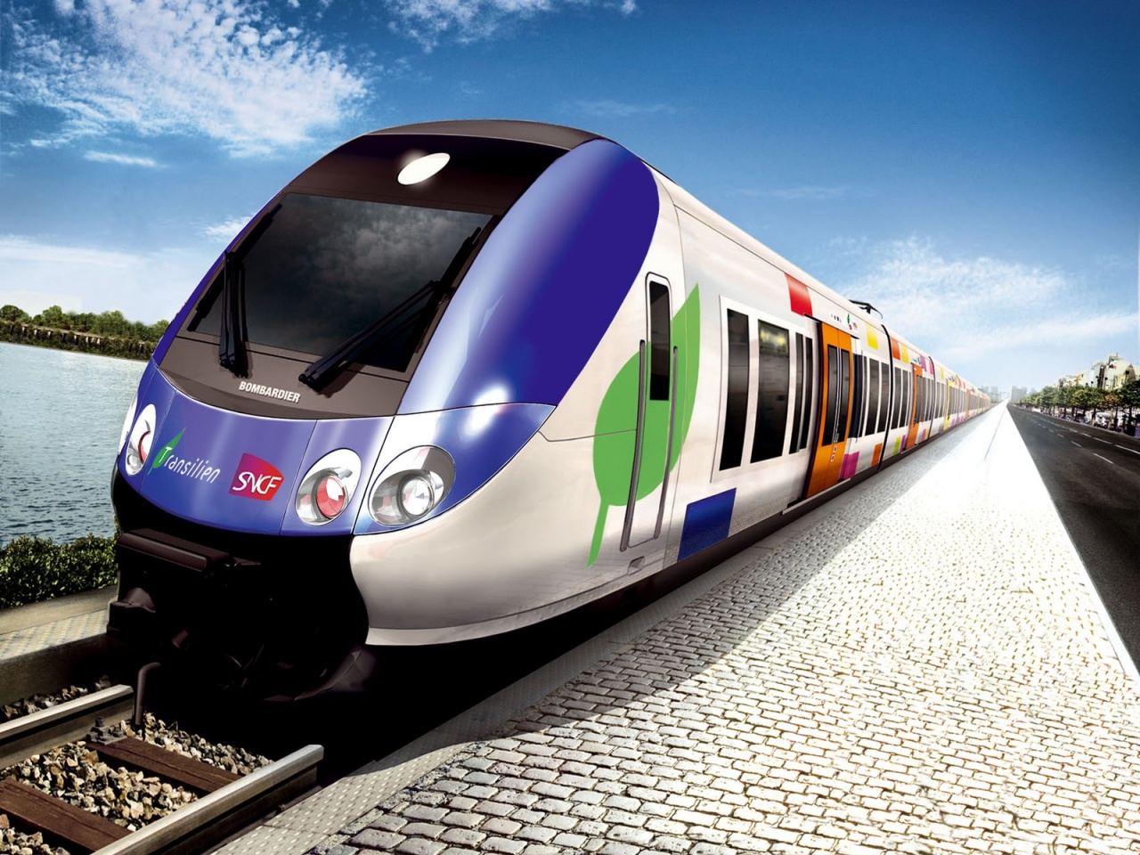 High Speed Colorful Train HD 1280x960