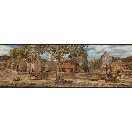 Blue Mountain Amish Scenic Wallpaper Border Paint Home Decor 500x500