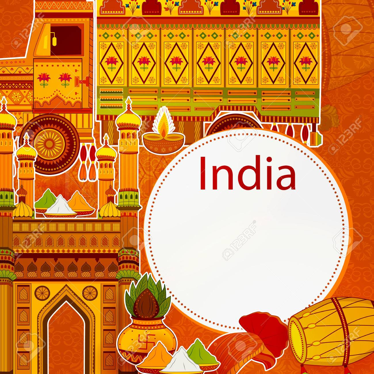 Incredible India Background Depicting Indian Colorful Culture 1300x1300