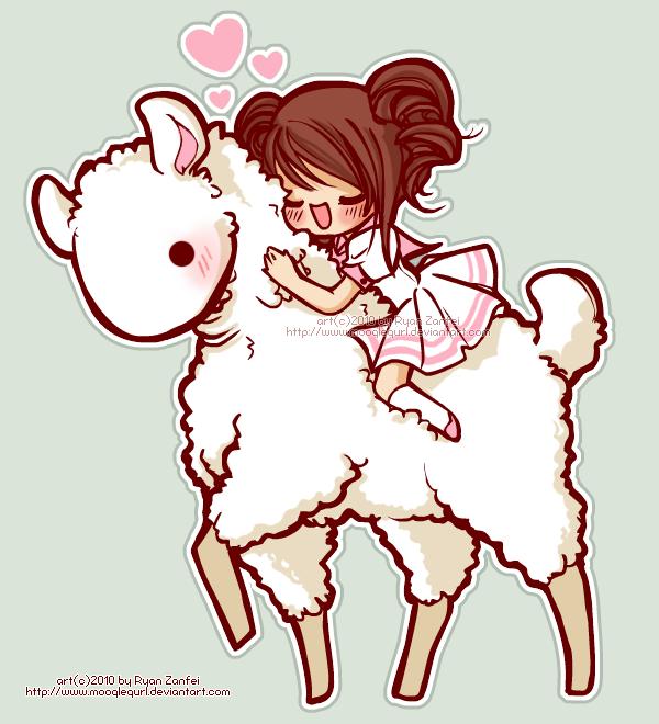 Cute Cartoon Llama Wallpaper Albino llama love by 600x660