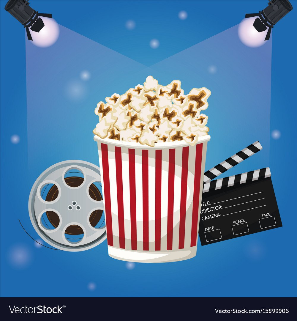 Color background spotlights with popcorn Vector Image 1000x1080