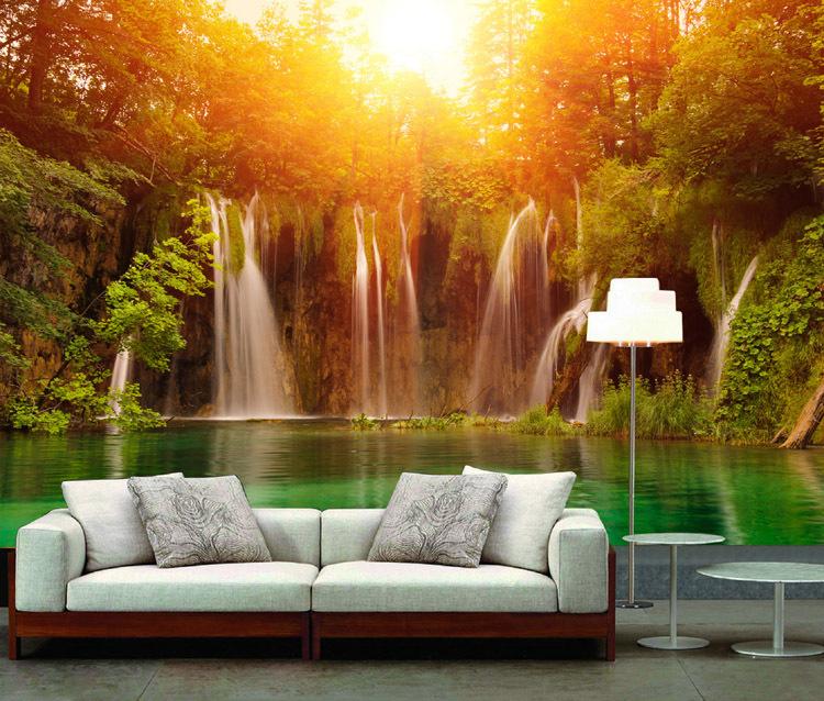 Buy Mural wallpaper waterfall tv sofa background wall mural wallpaper 750x638