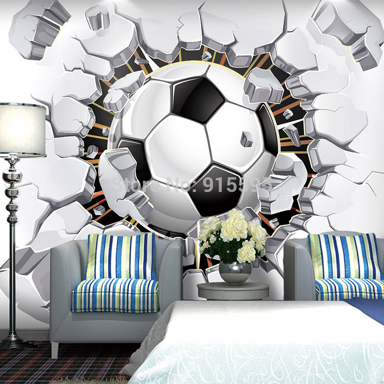 3D Soccer Wallpaper Sport Background Mural Living Room Sofa 750x750