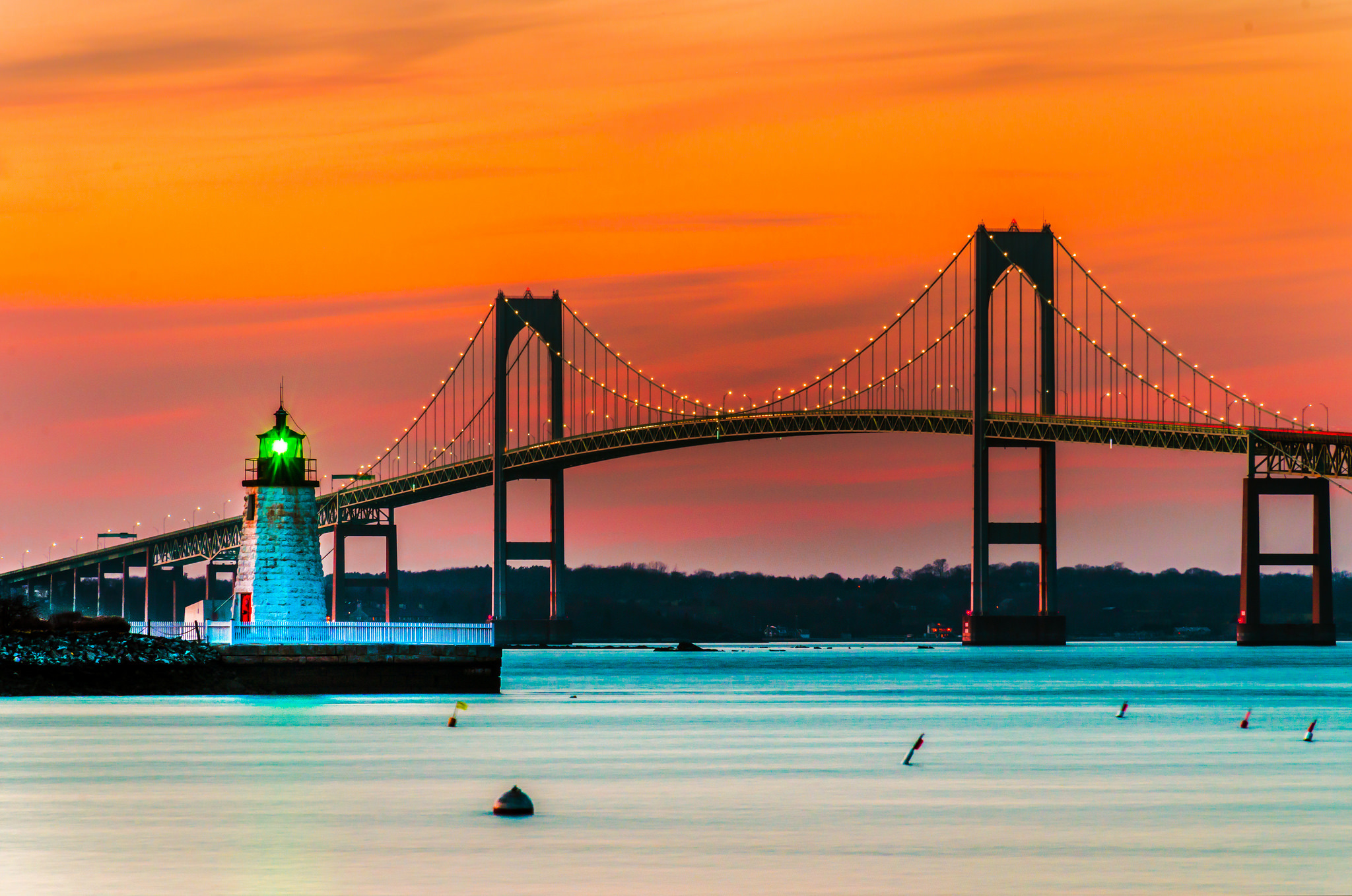 Sunset over Lighthouse and Bridge in Newport Rhode Island HD 2048x1358