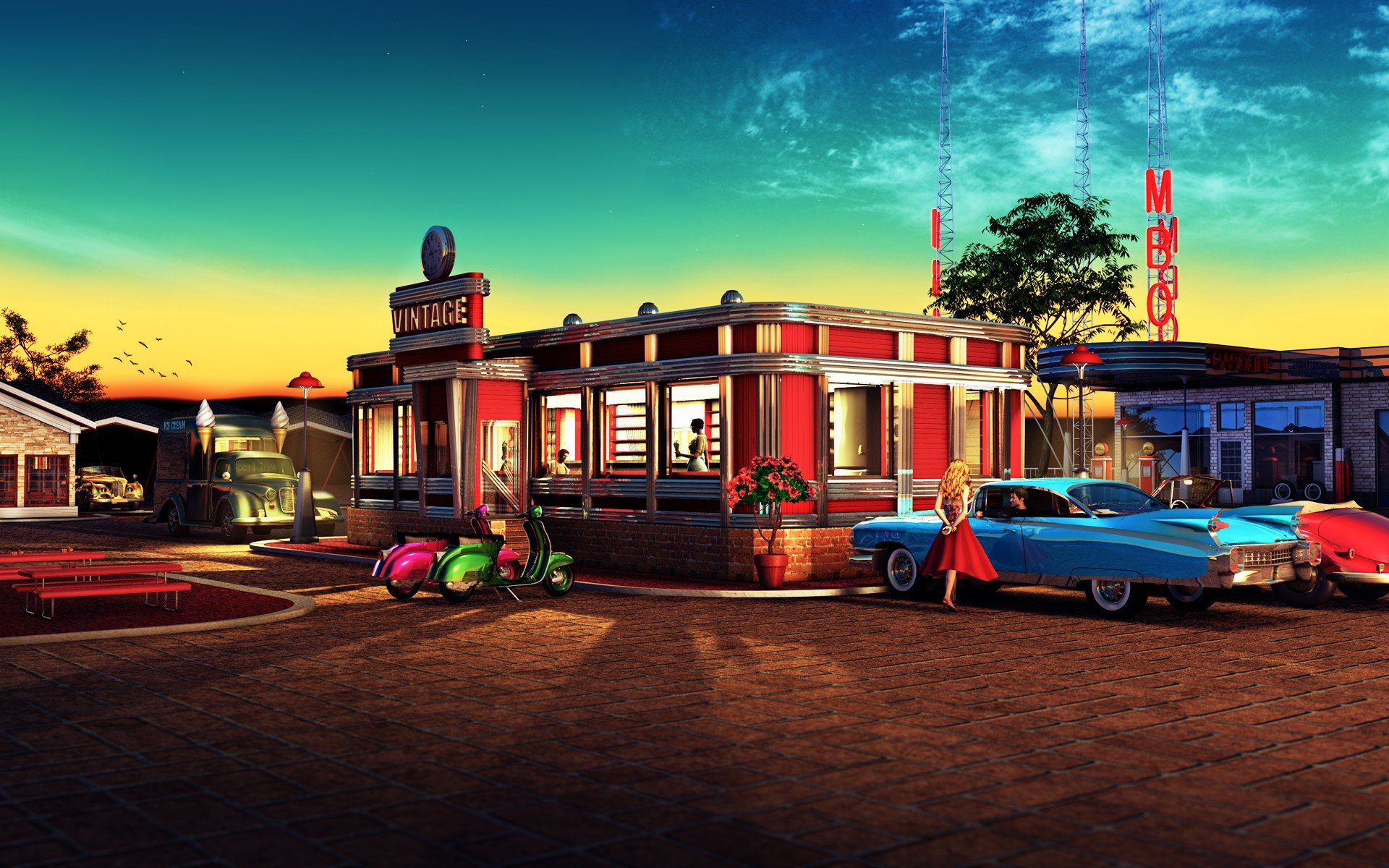 American diner wallpaper wallpapersafari for Diner picture