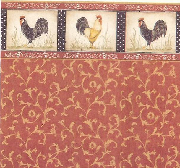 Dollhouse Wallpaper Kitchen Wallpaper Red Rooster Gold Swirl 609x568