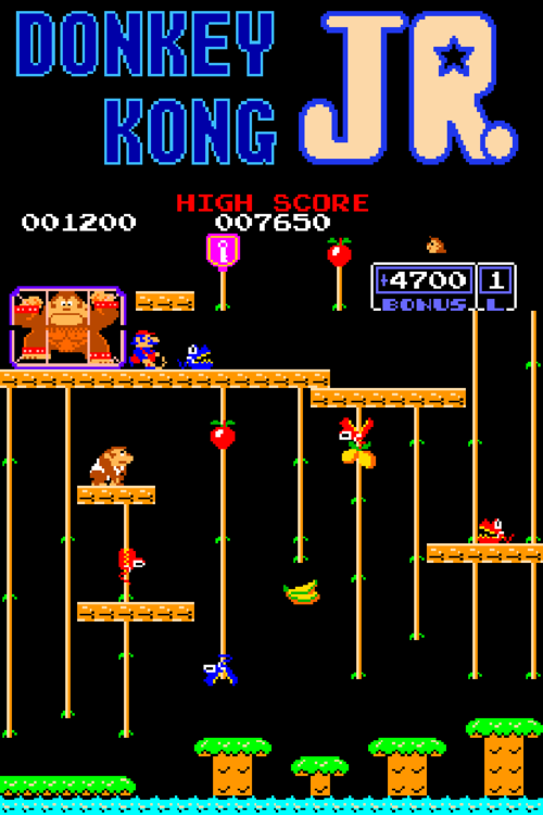 An iPhone wallpaper for the 8 bit arcadeNES video game Donkey Kong Jr 500x750