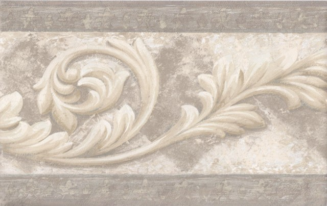 Cream Molding Swirls Wallpaper Border Roll   Traditional   Wallpaper 640x404