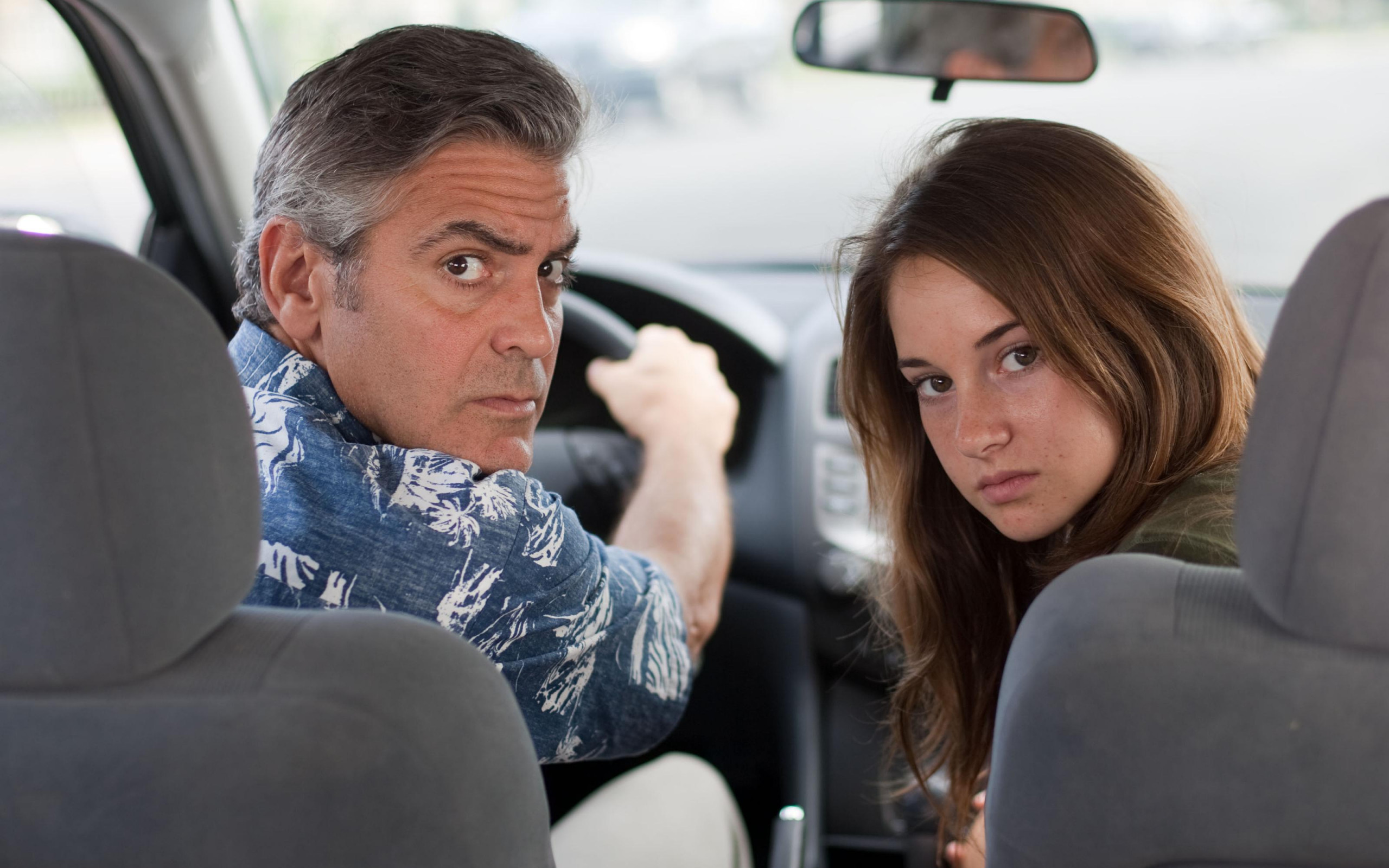 wallpaper the descendants george clooney shayleen woodley HD 2560x1600