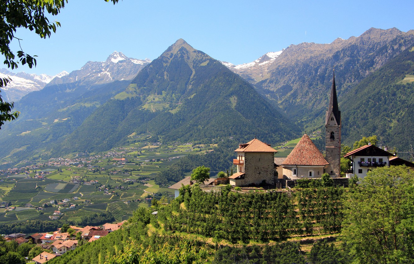 Wallpaper mountains valley Italy Church panorama Italy 1332x850