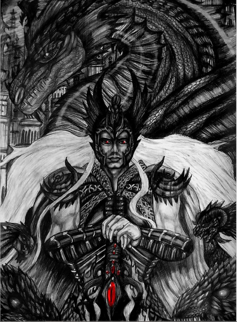 Elric of Melnibone Dragon emperor by emeraldnephilim8 900x1220