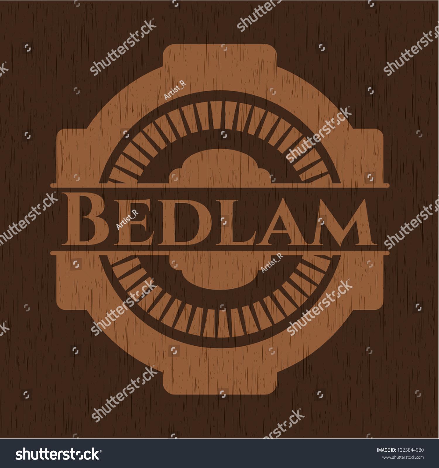 Bedlam Badge Wooden Background Stock Vector Royalty 1225844980 1500x1600