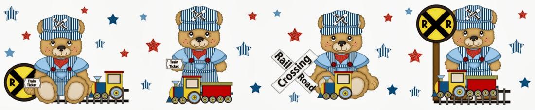 Bear Train Wallpaper Border Decals for baby boy nursery or kids room 1100x228