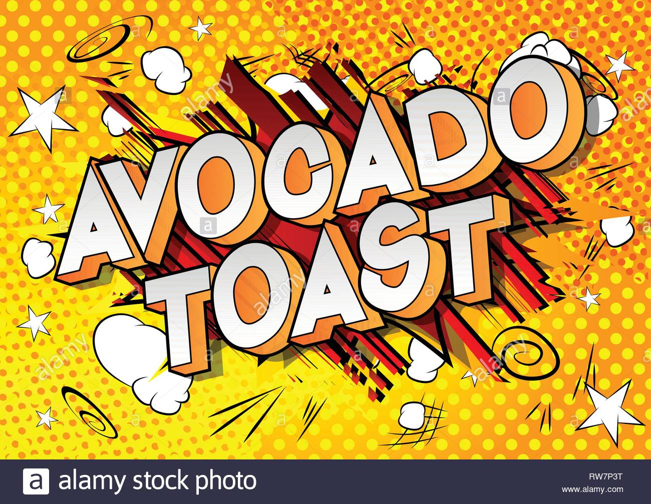 Avocado Toast   Vector illustrated comic book style phrase on 1300x1007