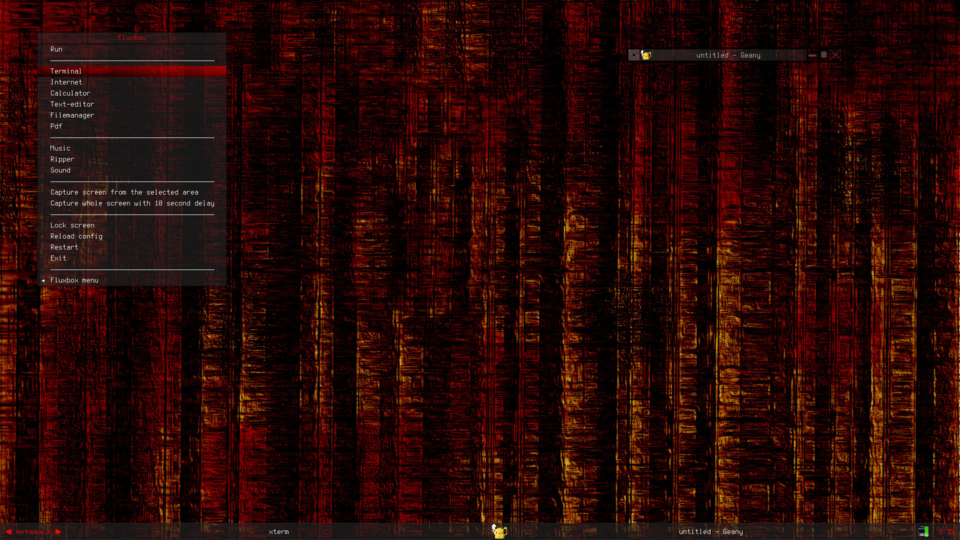 Blackdust burned a fluxbox theme and a wallpaper Techtimejourney 1920x1080