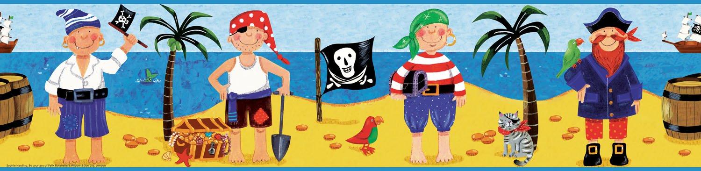 Pirate Treasure Kids Wallpaper Border for Boys 1500x366