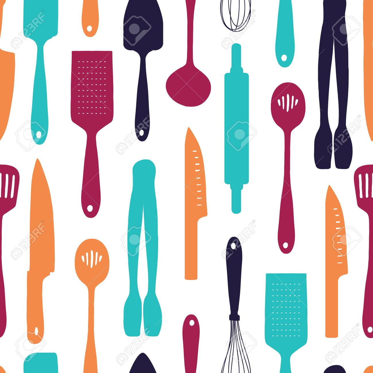 Seamless Background With A Pattern Of Silhouette Cutlery Vertical 1300x1300