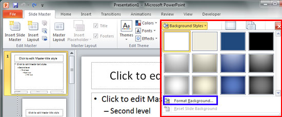 Change Background Styles in the Slide Master in PowerPoint 2010 for 550x228