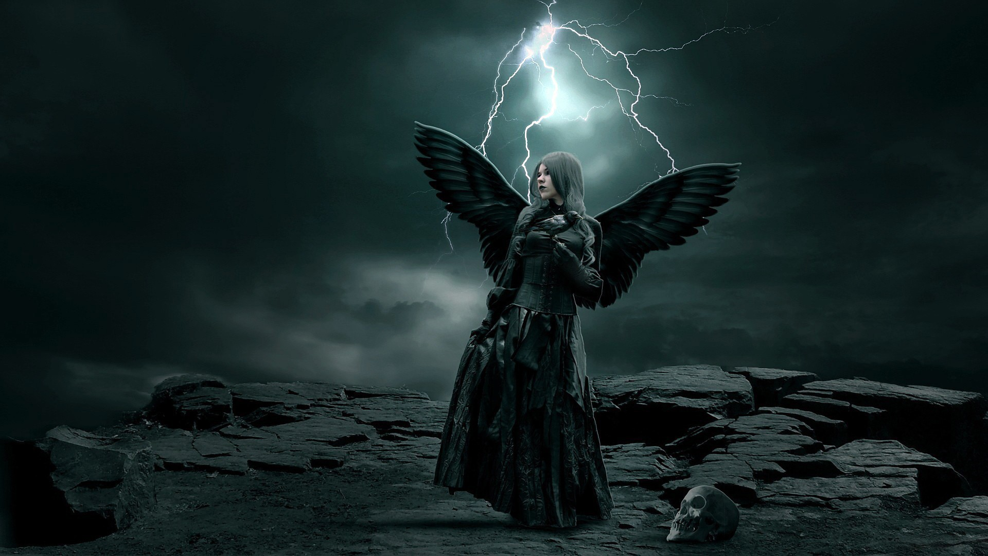 Rocks Angel Gothic Dark Storm WingsHD Abstract Wallpapers 1920x1080