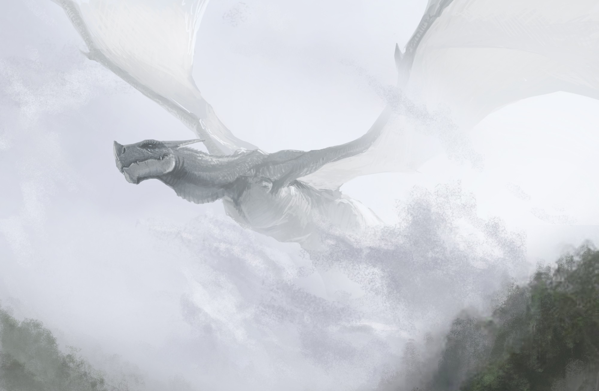 Art dragon flying hills fog fantasy dragons wallpaper 2000x1305 2000x1305