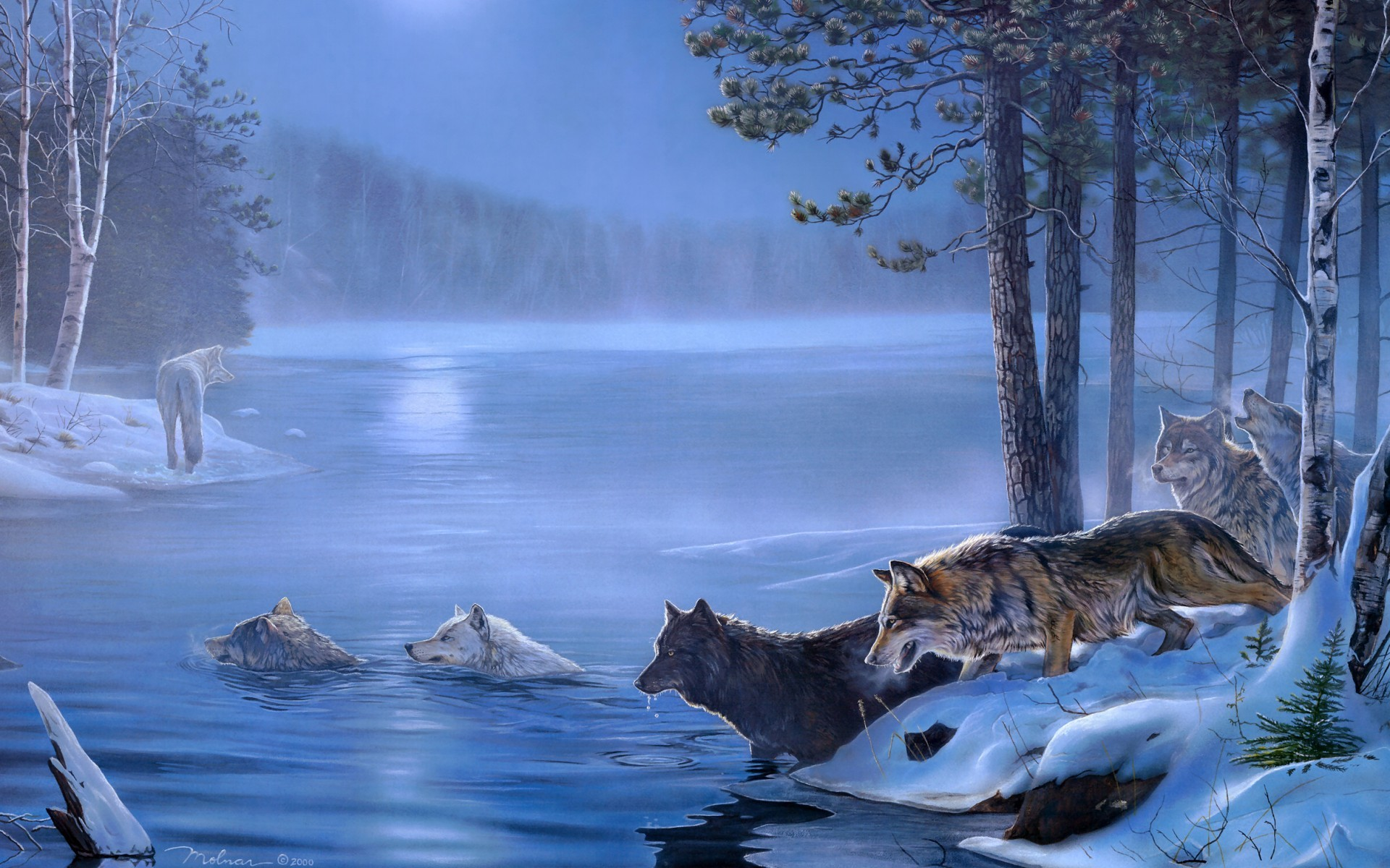 Dogs Paintings Light Art Wolf Rivers Night Wolves Lakes Moon 1920x1200