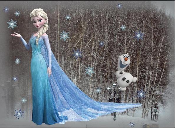 Krainie Lodu   Elsa i Olaf Dekoracyjne naklejki na cian dla 594x436