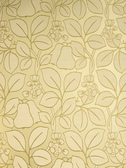 Pears Wallpaper Bronze metallic wallpaper with densely printed pear 534x709
