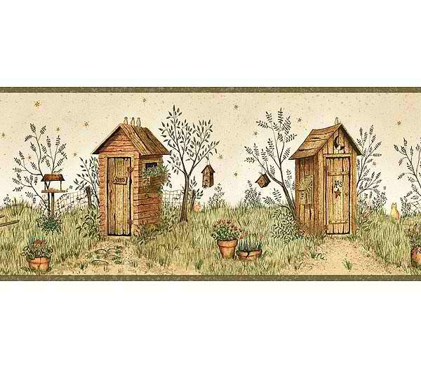 Garden Outhouses Wallpaper Border   Rustic Country Primitive 600x525