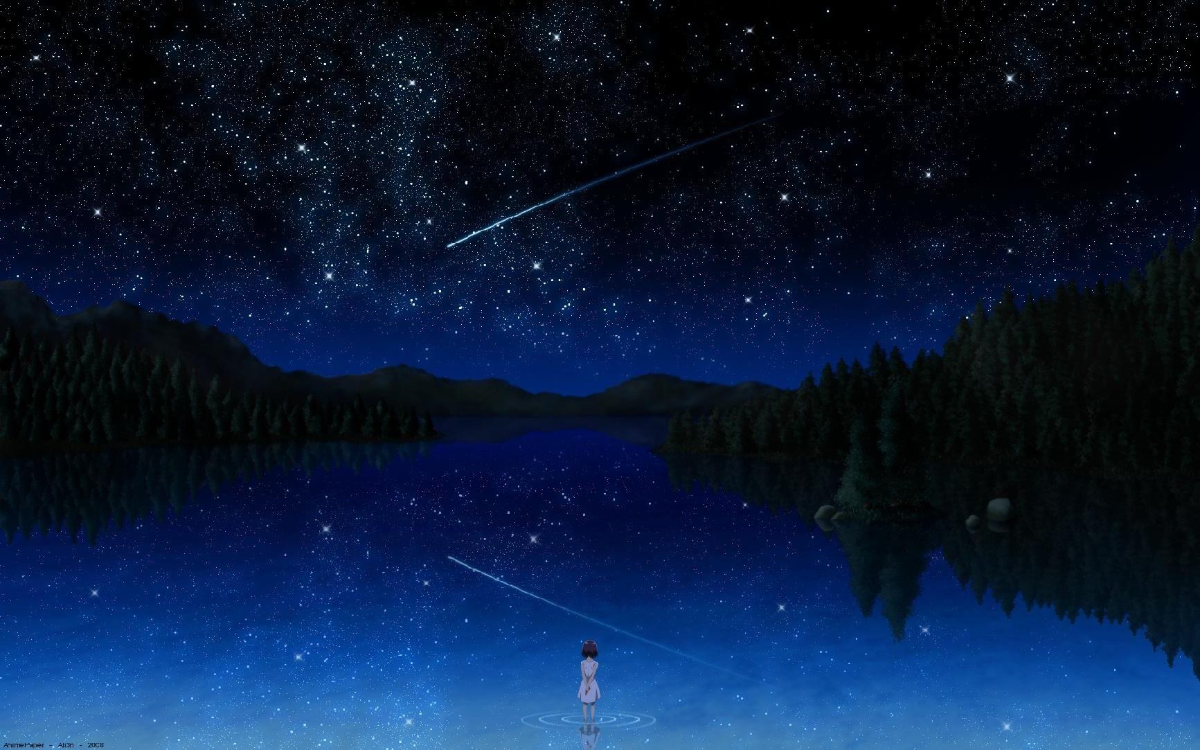 Water Nature Anime girls Anime Shooting stars HD Wallpapers 1733x1083