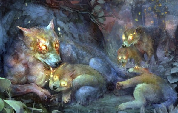 Wallpaper art wolves forest wolf wolves dragons crown game 596x380