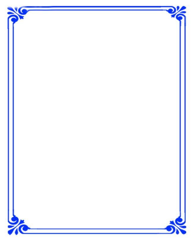 Simple Background Blue Border Certificate templates Simple 650x812