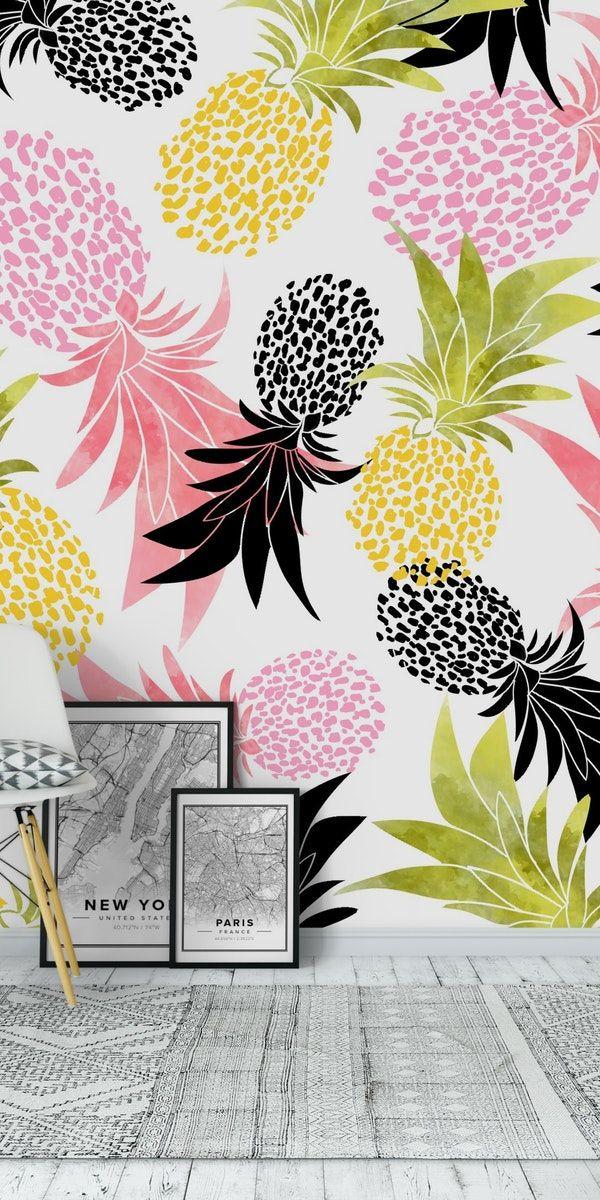 Pineapples Wallpaper Pineapple wallpaper Quirky wallpaper Pink 600x1200