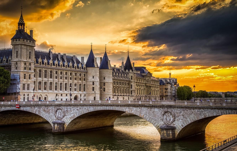 Wallpaper the sky sunset clouds bridge castle France Paris 1332x850