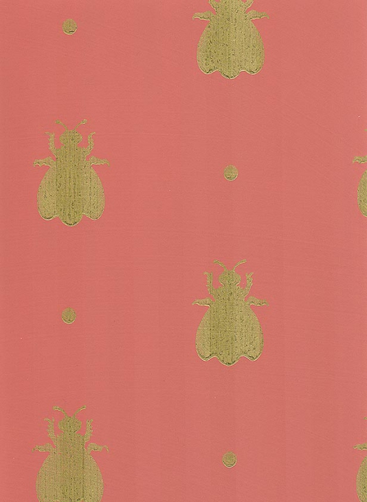 Bumble Bee Wallpaper Terracotta red paper with gold bees 534x730