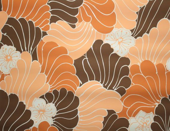 1970s Designer Vintage Wallpaper Judscott Handprint FanFare Brown 570x438