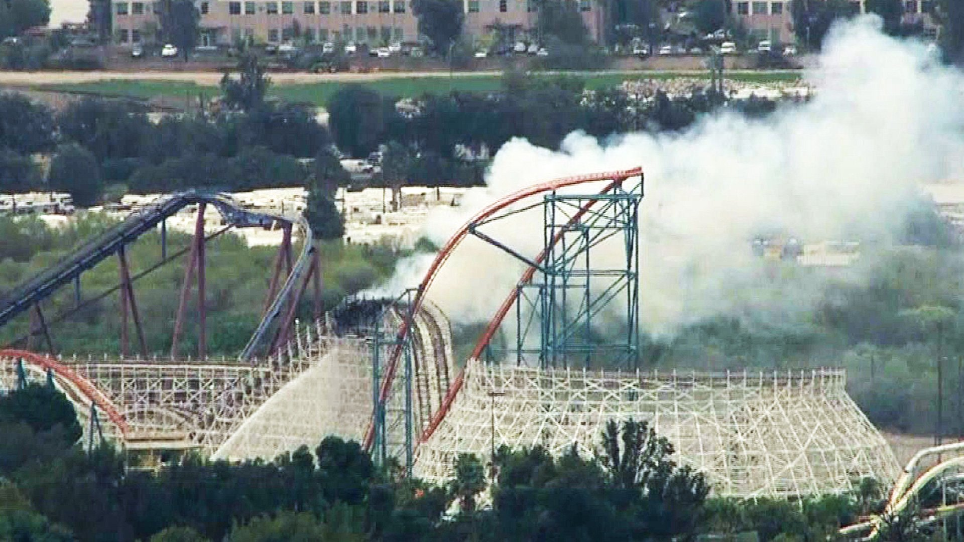 Portion of track collapses after iconic Colossus coaster catches 1920x1080