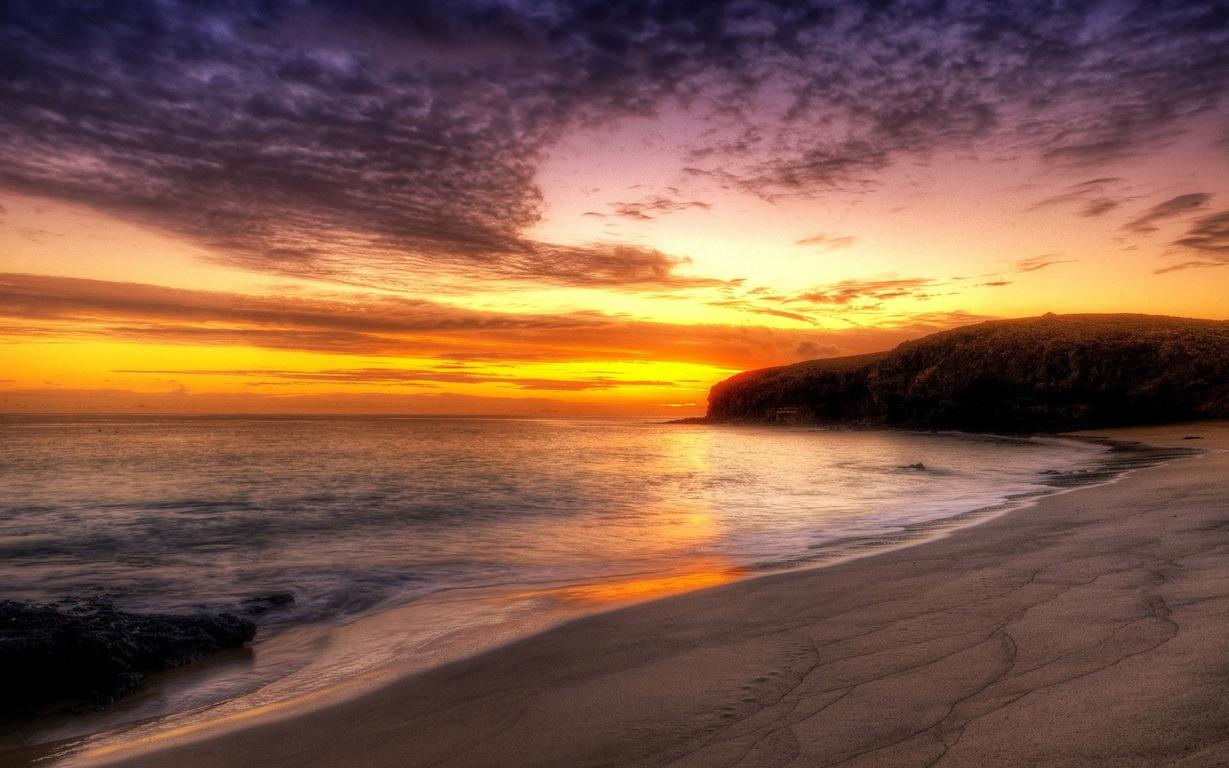 Download Golden sunset on the beach wallpaper