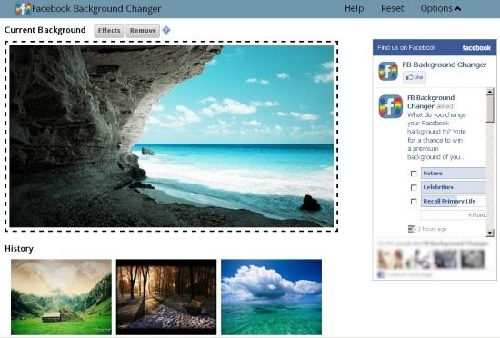 How to Change Facebook Background Using Facebook Background Changer 550x372