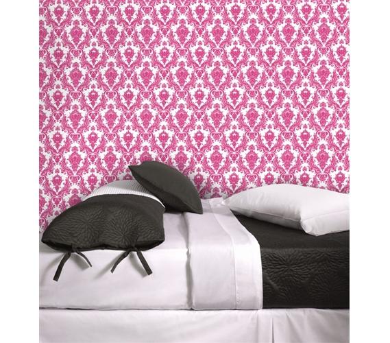 Damsel Fuchsia White Tempaper Removable Wallpaper Cute Dorm Wall 569x500