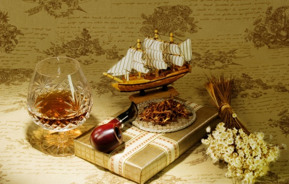 Gift pipes tobacco brandy a model ship sailboat wallpapers 596x380