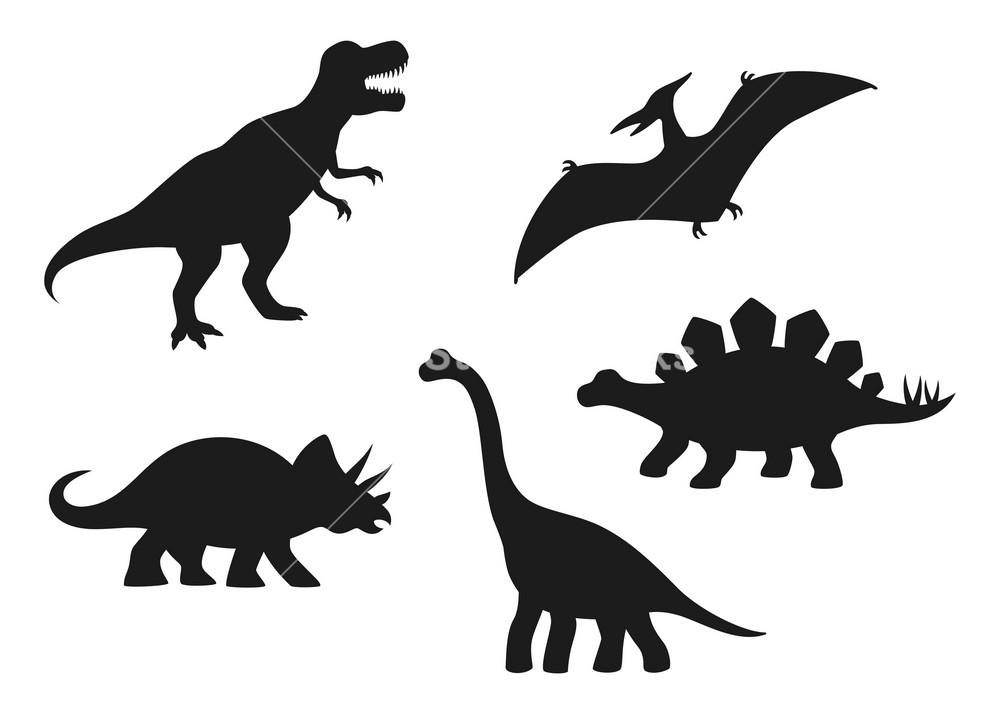 Dinosaur vector silhouettes   T rex Brachiosaurus Pterodactyl 1000x714