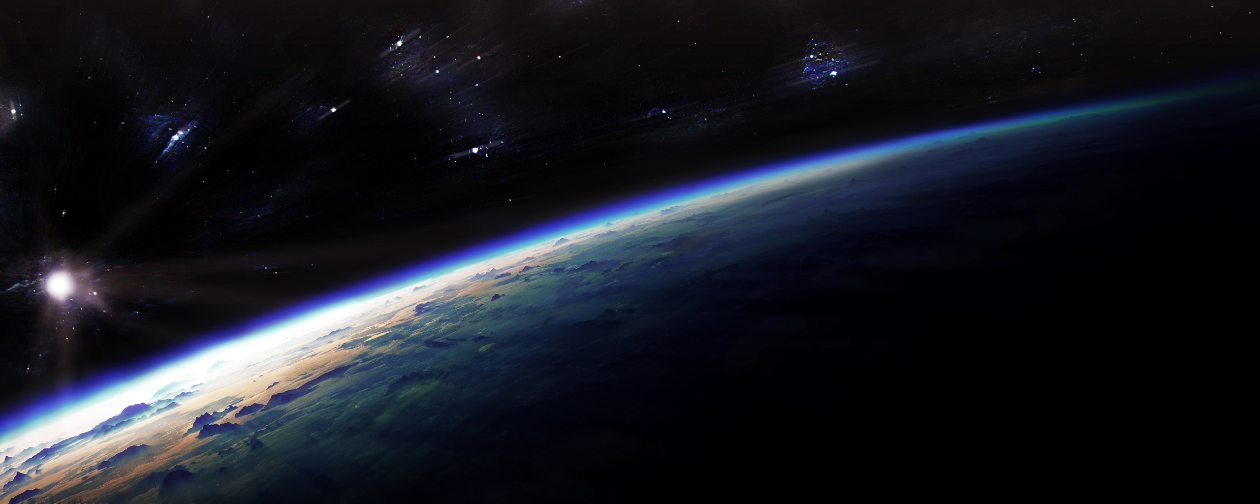 Wallpapers space dual screen earth from 25601024 1128431 space 2560x1024