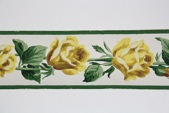 Wallpaper Border   TRIMZ   Beautiful Floral Yellow Roses   3 inch 570x380