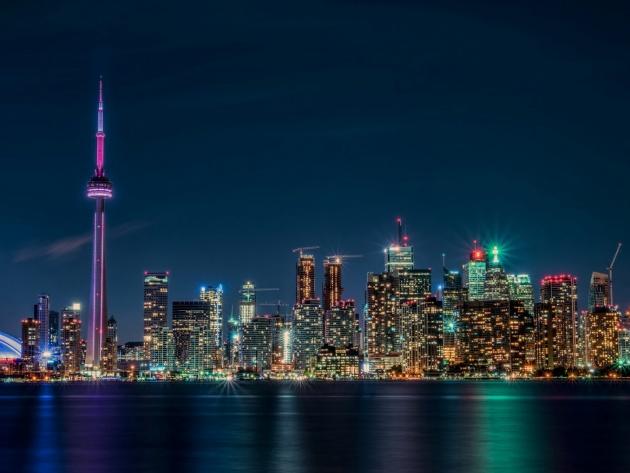 Night Toronto view from Lake Ontario 630x473