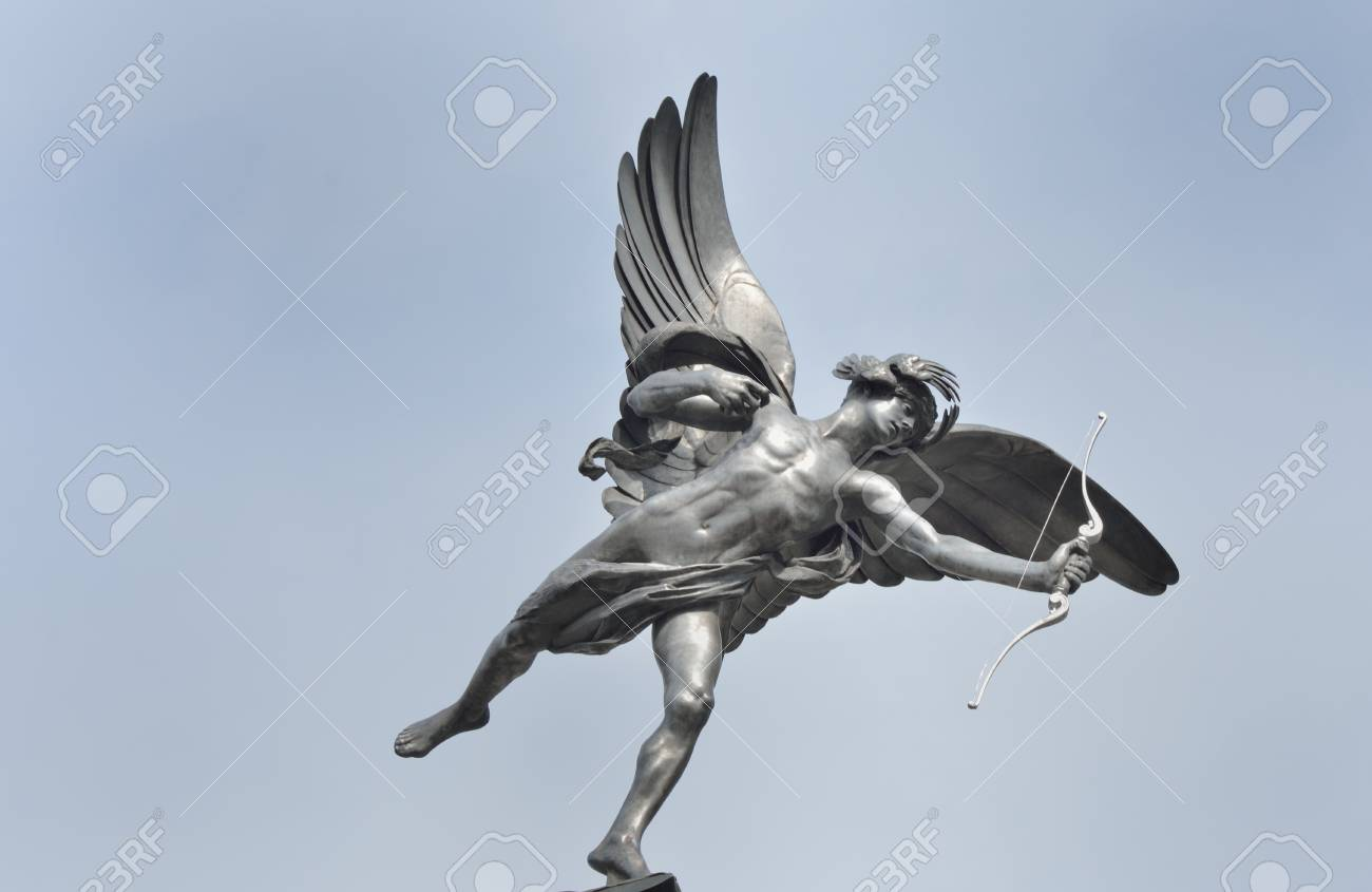 Eros Statue With Blue Sky Background Stock Photo Picture And 1300x845