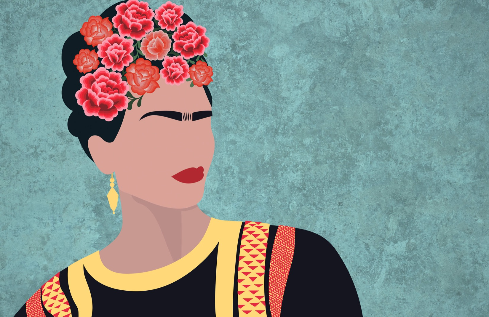 Free Download Frida Kahlo Portrait Floral Wallpaper Mural