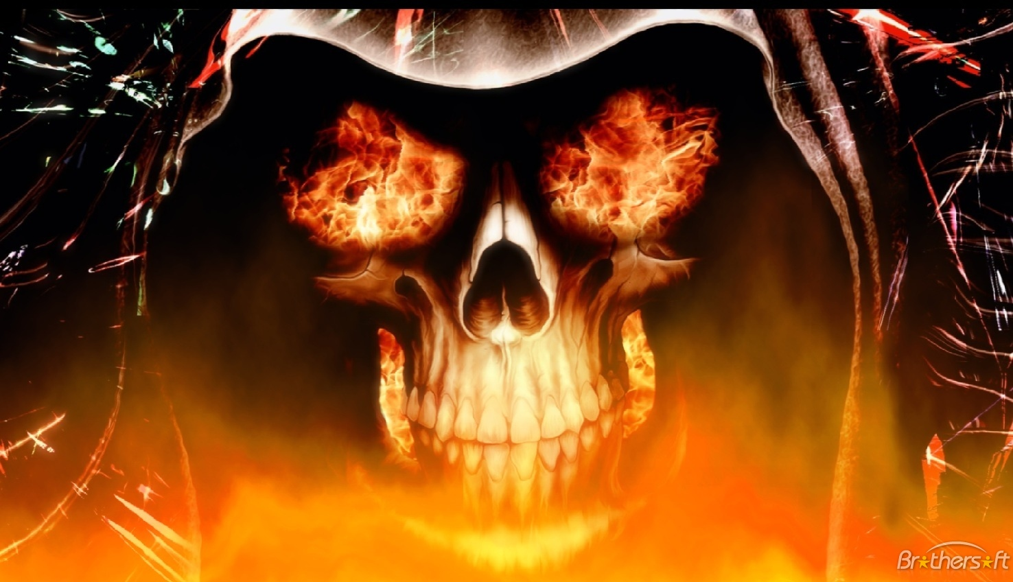 Download Fire Skull Animated Wallpaper Fire Skull Animated 1476x848