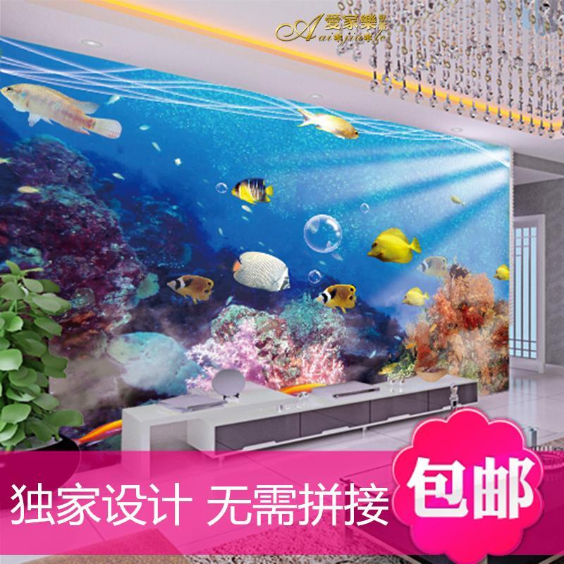 large 3d stereoscopic underwater world of marine fish wallpaper mural 800x800