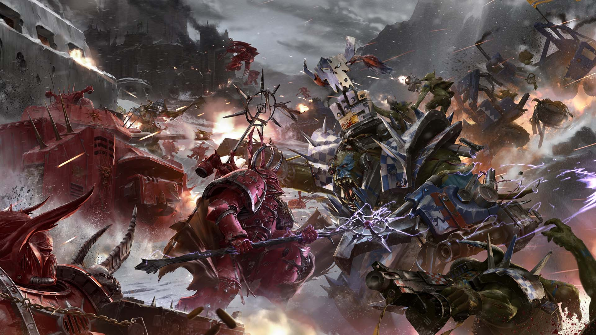 Free Download Orcs Vs Chaos Space Marines Wallpaper From Warhammer